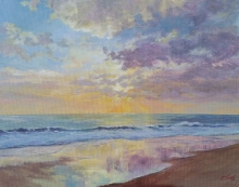 Sunset beach acrylic painting