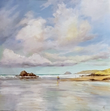 Acrylic painting of Perranporth Beach