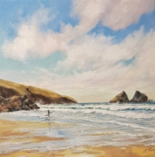 Surfer at Holywell Bay, Cornwall